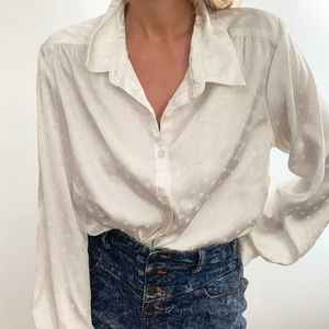 Vintage Silky Blouse Button Up